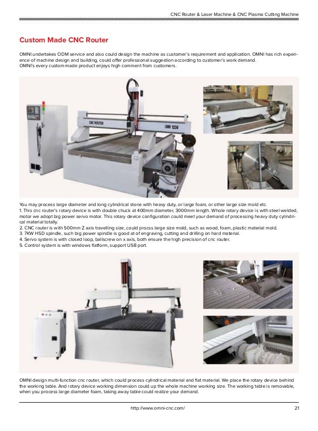 21http://www.omni-cnc.com/ CNC Router & Laser Machine & CNC Plasma Cutting Machine Custom Made CNC Router OMNI undertakes ...