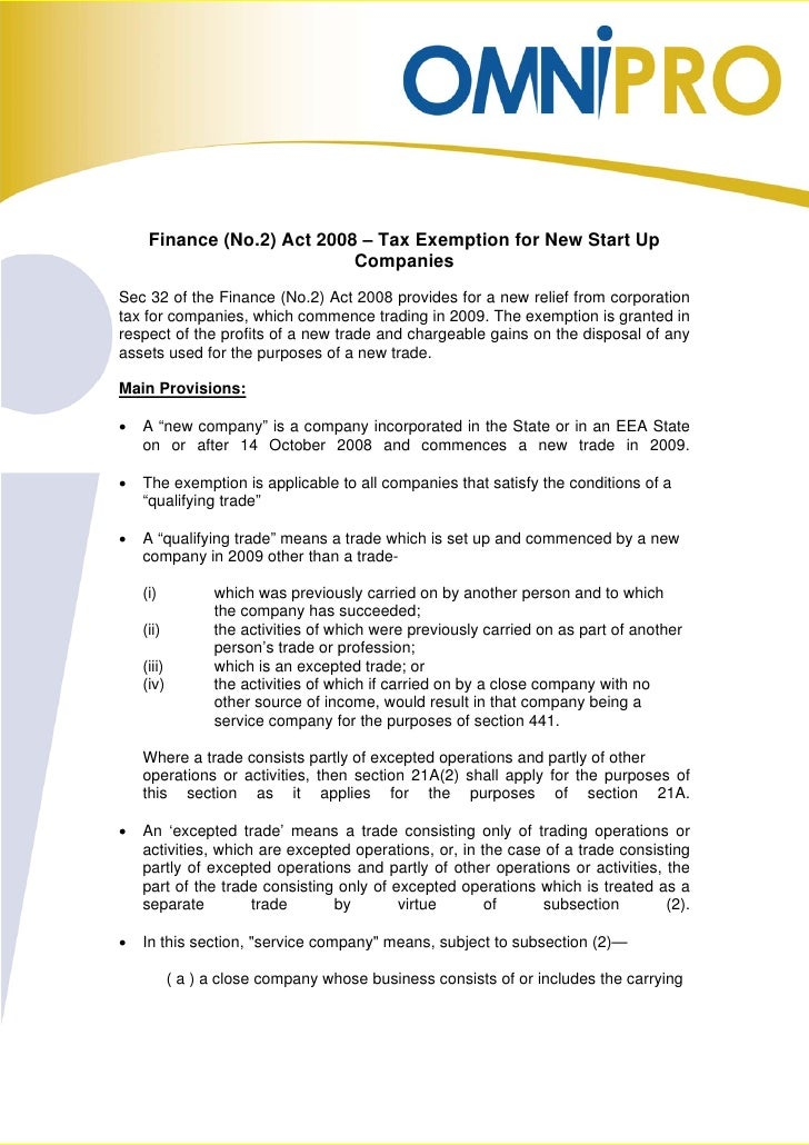 Finance (No.2) Act 2008 – Tax Exemption for New Start Up                             Companies Sec 32 of the Finance (No.2...