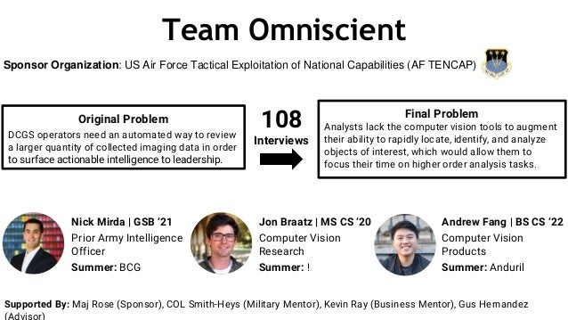 Team Omniscient Original Problem DCGS operators need an automated way to review a larger quantity of collected imaging dat...