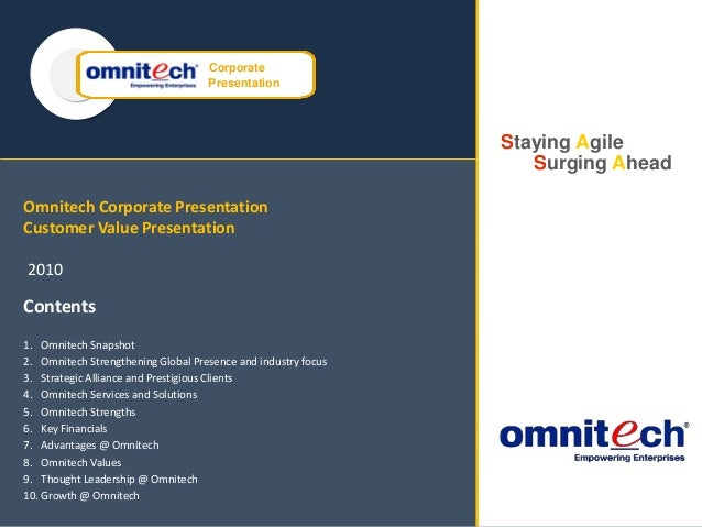 Omnitech DR BCP Consulting Services SAP ENTERPRISE SUPPORT Corporate Presentation Staying Agile Surging Ahead Omnitech Cor...