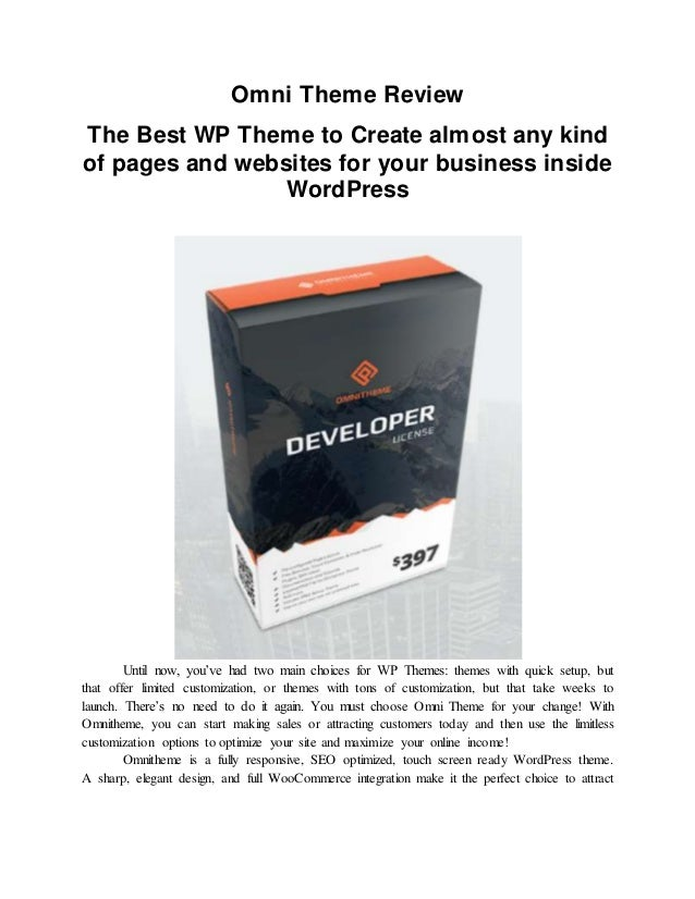 Omni Theme Review : The Best WP Theme to Create almost any kind of pa… - 웹