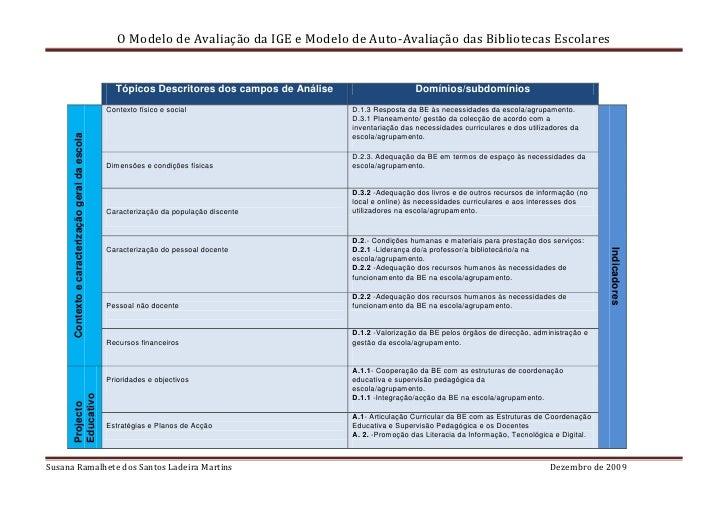 O Modelo de Avaliação da IGE e Modelo de Auto-Avaliação das Bibliotecas Escolares                                         ...