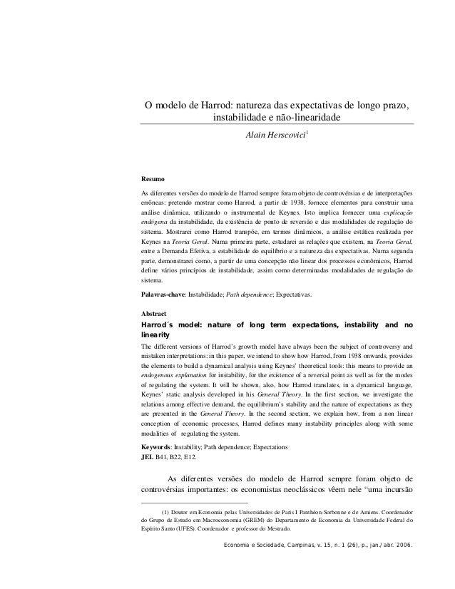 O modelo de Harrod: natureza das expectativas de longo prazo,               instabilidade e não-linearidade               ...