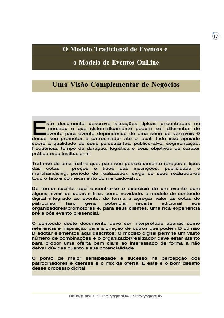 O modelo tradicional de eventos e o modelo de eventos online - Uma Visão Complementar de Negócios