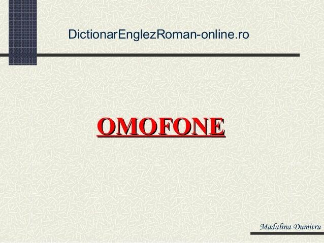 Dictionar de omofone