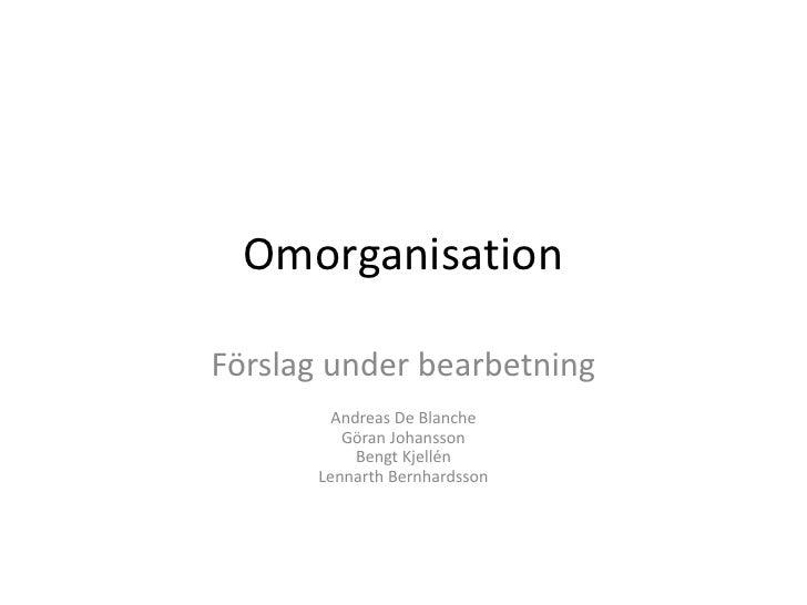 Omorganisation<br />Förslag under bearbetning<br />Andreas De BlancheGöran JohanssonBengt KjellénLennarth Bernhardsson<br />