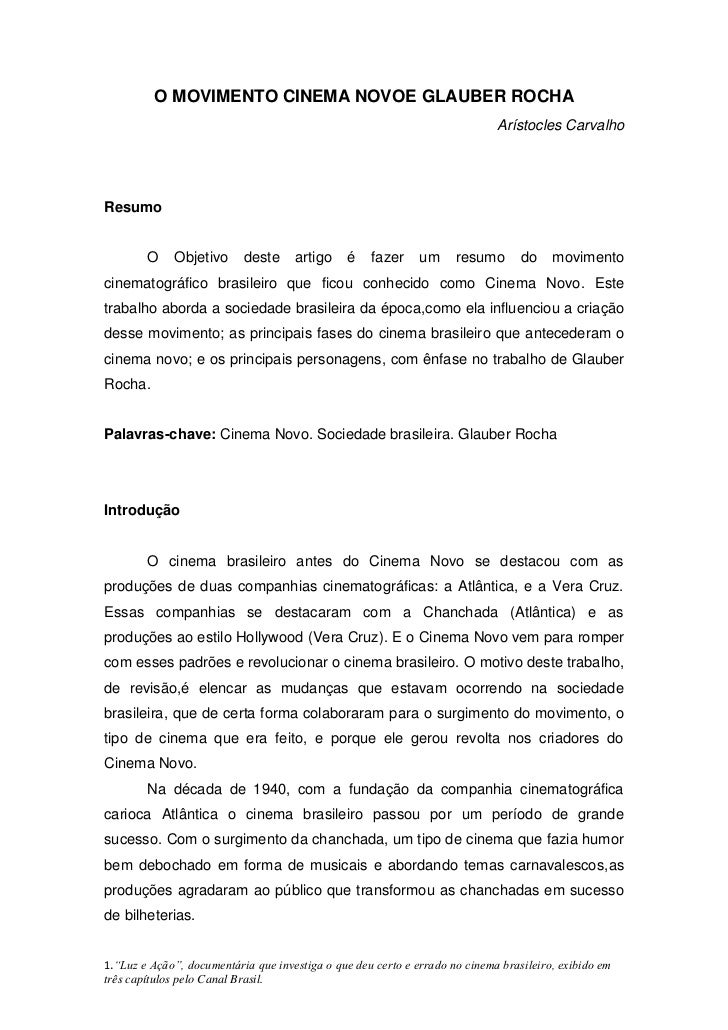O MOVIMENTO CINEMA NOVOE GLAUBER ROCHA                                                                             Arístoc...