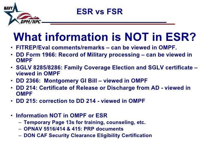 OMPF (aka WERR or Web Enabled Record) & ESR (Electronic Service Reco…