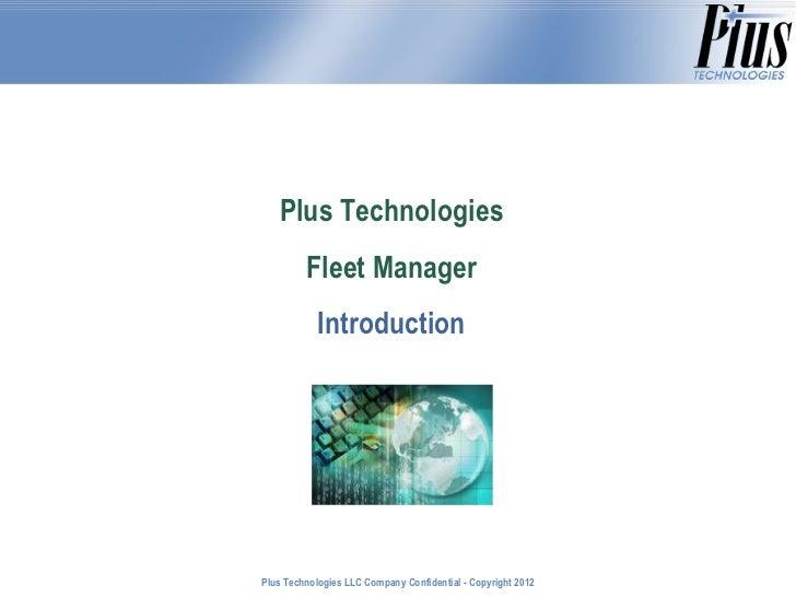 Plus Technologies Fleet Manager Introduction