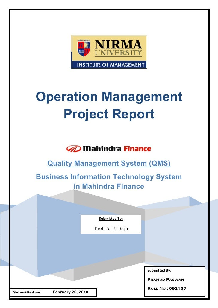 Operations maangement assignment guideline