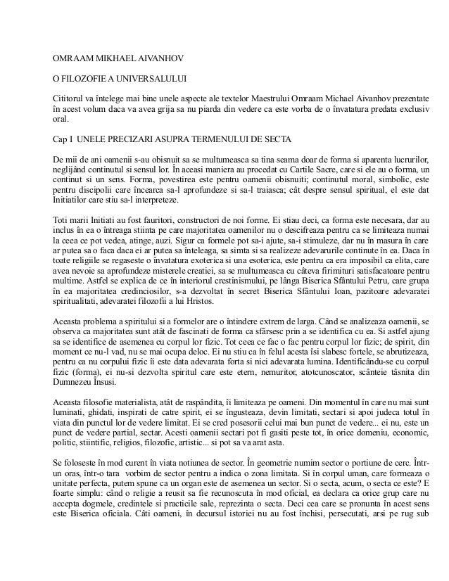 OMRAAM MIKHAEL AIVANHOV O FILOZOFIE A UNIVERSALULUI Cititorul va întelege mai bine unele aspecte ale textelor Maestrului O...