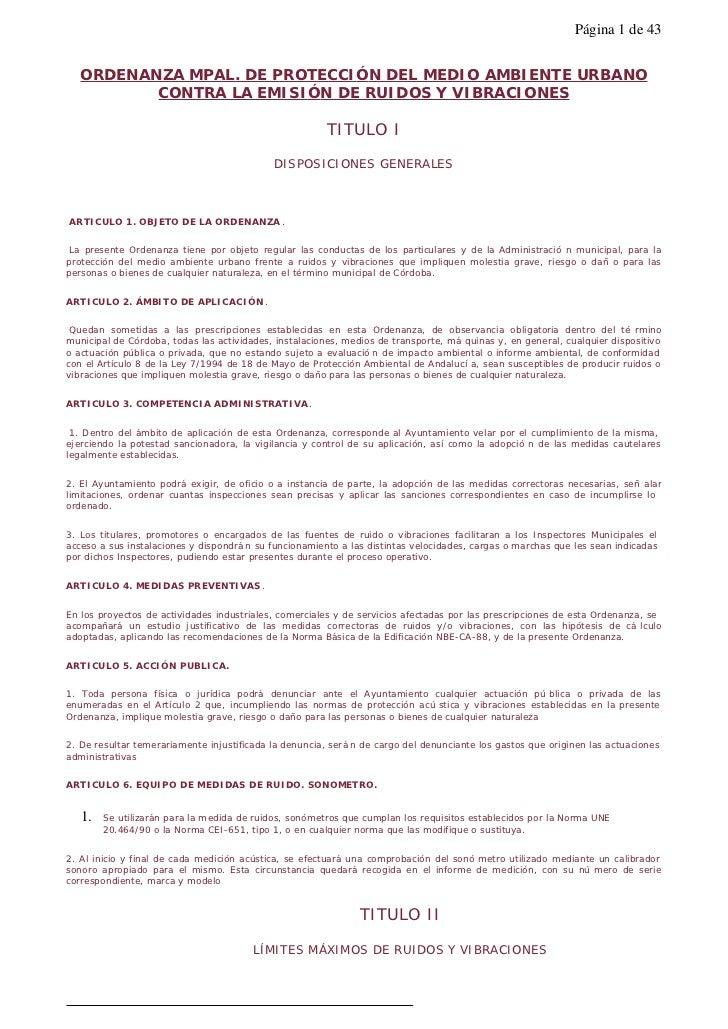 Página 1 de 43   ORDENANZA MPAL. DE PROTECCIÓN DEL MEDIO AMBIENTE URBANO          CONTRA LA EMISIÓN DE RUIDOS Y VIBRACIONE...