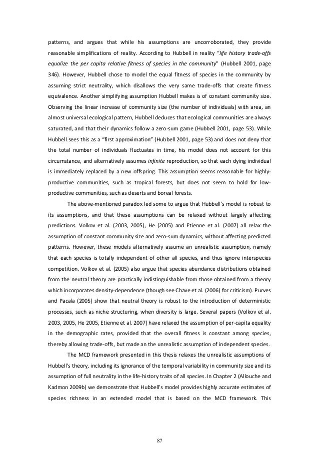 thesis assumptions and hypotheses Assumptions and foundation in this section i provide the foundation to my thesis argued assumptions, and the general thesis argument, through extensive literature review and discussion of the bodies of knowledge it builds upon.