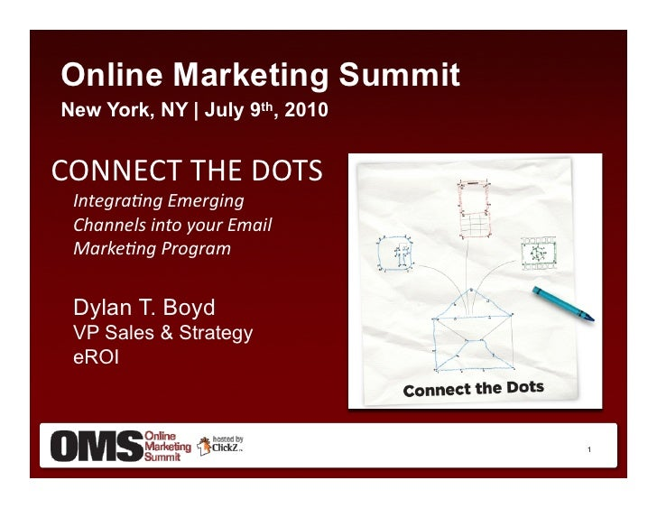 Online Marketing Summit New York, NY | July 9th, 2010   CONNECT	   THE	   DOTS	      Integra(ng	   Emerging	   	      Chan...