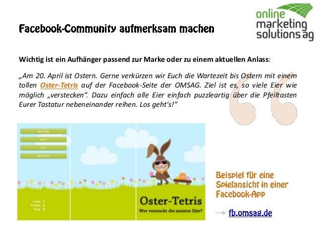 Spiele-App in Facebook: Beispiel OMSAG Oster-Tetris Slide 2