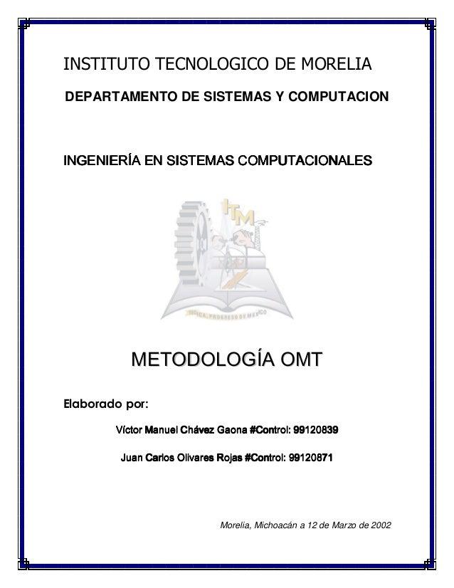 INSTITUTO TECNOLOGICO DE MORELIA DEPARTAMENTO DE SISTEMAS Y COMPUTACION INGENIERÍA EN SISTEMAS COMPUTACIONALESINGENIERÍA E...