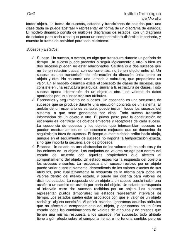 OMT Instituto Tecnológico de Morelia 12 tercer objeto. La trama de sucesos, estados y transiciones de estados para una cla...