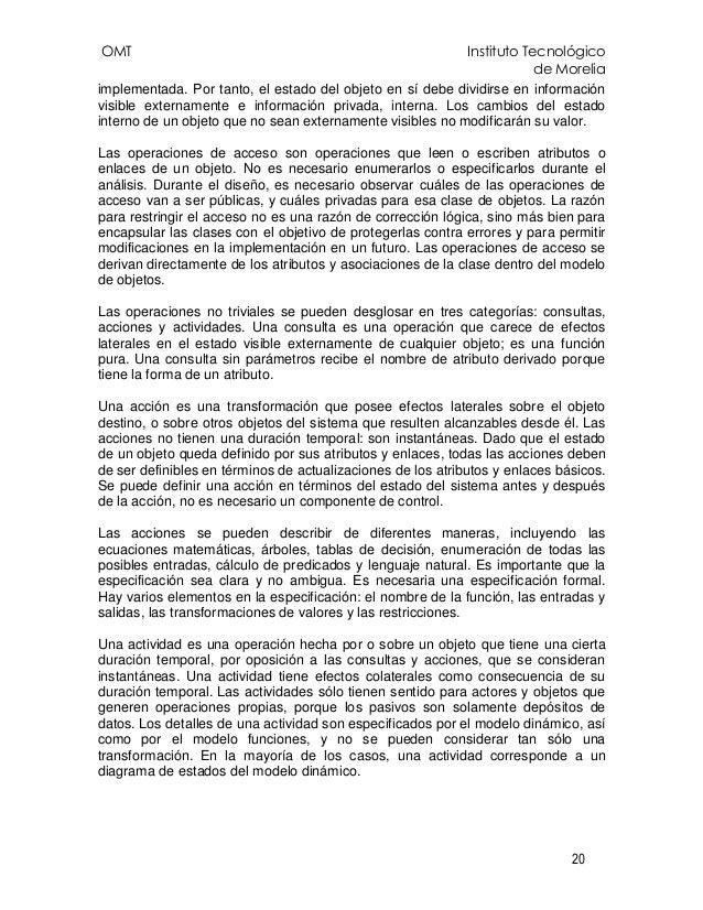 OMT Instituto Tecnológico de Morelia 20 implementada. Por tanto, el estado del objeto en sí debe dividirse en información ...