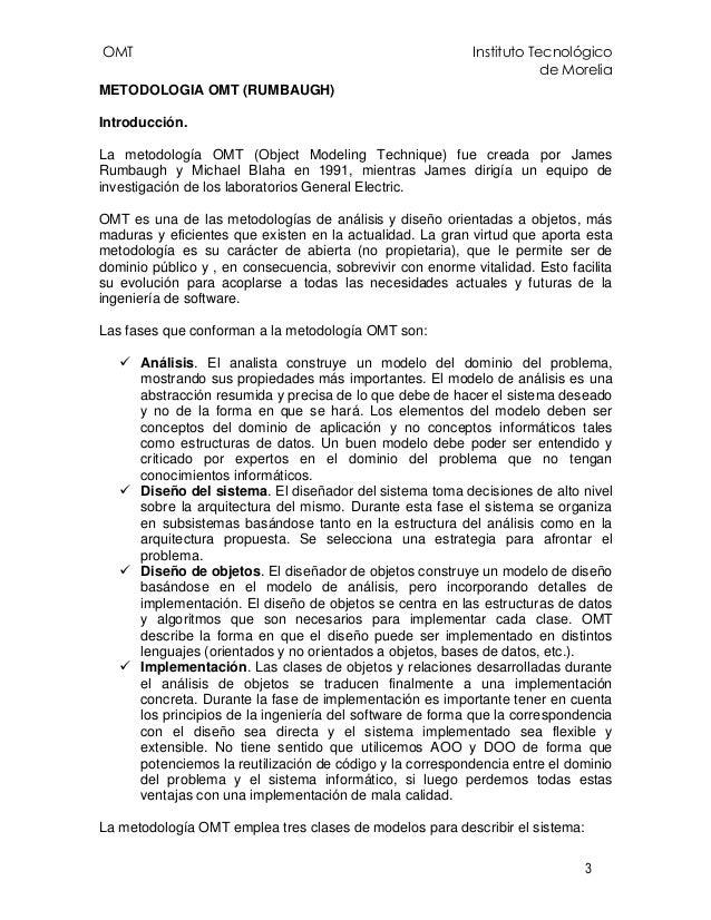 OMT Instituto Tecnológico de Morelia 3 METODOLOGIA OMT (RUMBAUGH) Introducción. La metodología OMT (Object Modeling Techni...