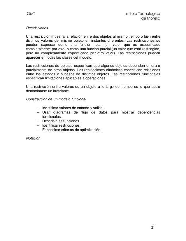 OMT Instituto Tecnológico de Morelia 21 Restricciones Una restricción muestra la relación entre dos objetos al mismo tiemp...