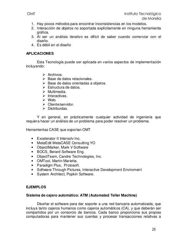 OMT Instituto Tecnológico de Morelia 25 1. Hay pocos métodos para encontrar inconsistencias en los modelos. 2. Interacción...