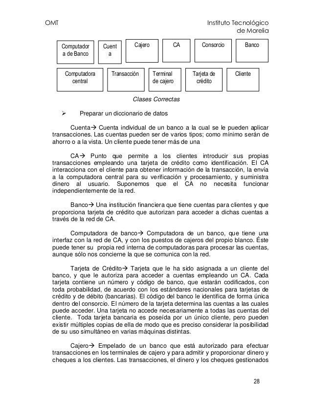 OMT Instituto Tecnológico de Morelia 28 Clases Correctas Preparar un diccionario de datos Cuenta Cuenta individual de un b...