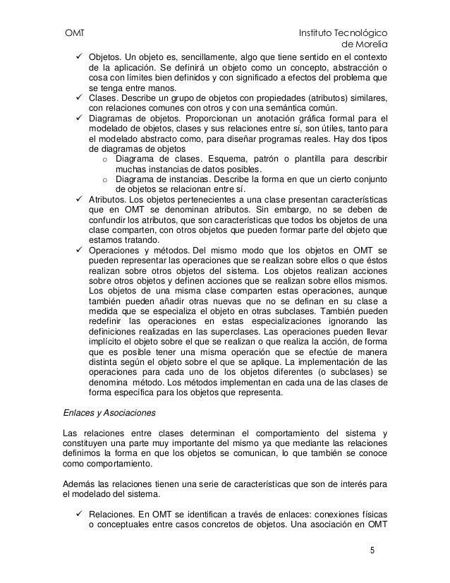 OMT Instituto Tecnológico de Morelia 5 Objetos. Un objeto es, sencillamente, algo que tiene sentido en el contexto de la a...