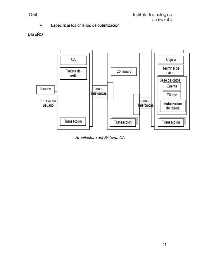 OMT Instituto Tecnológico de Morelia 41 Especificar los criterios de optimización DISEÑO Arquitectura del Sistema CA Tarje...