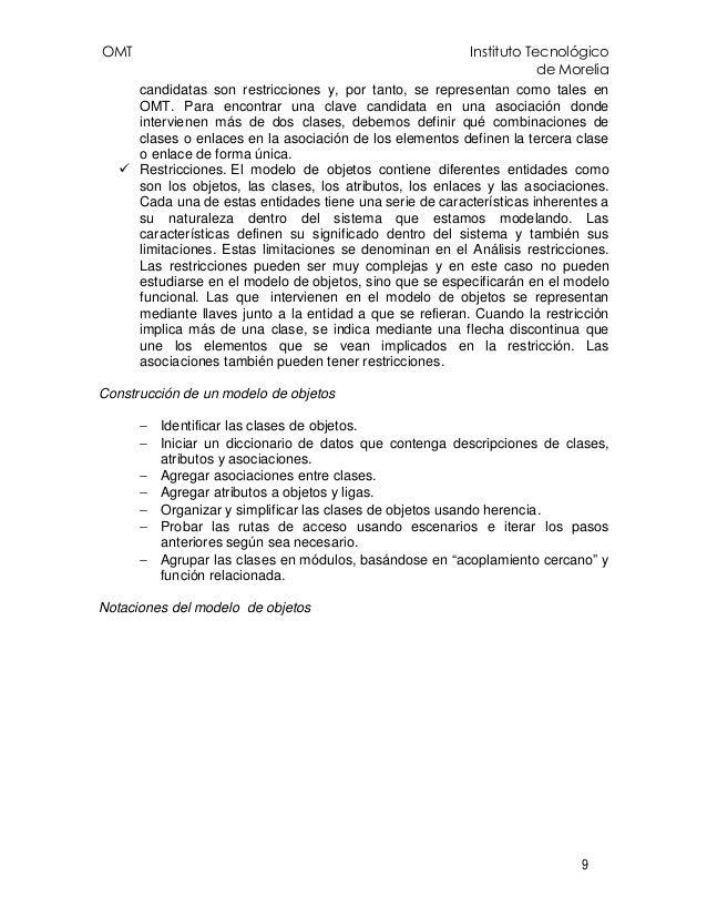 OMT Instituto Tecnológico de Morelia 9 candidatas son restricciones y, por tanto, se representan como tales en OMT. Para e...