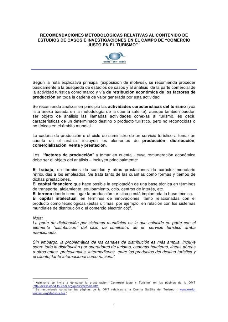 """RECOMENDACIONES METODOLÓGICAS RELATIVAS AL CONTENIDO DE    ESTUDIOS DE CASOS E INVESTIGACIONES EN EL CAMPO DE """"COMERCIO   ..."""