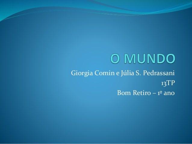 Giorgia Comin e Júlia S. Pedrassani  13TP  Bom Retiro – 1º ano