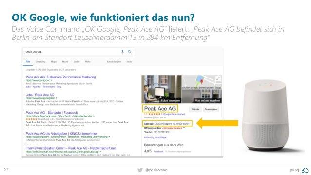 "27 pa.ag@peakaceag OK Google, wie funktioniert das nun? Das Voice Command ""OK Google, Peak Ace AG"" liefert: ""Peak Ace AG b..."