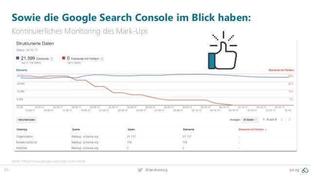 35 @peakaceag pa.ag Sowie die Google Search Console im Blick haben: Kontinuierliches Monitoring des Mark-Ups Mehr: https:/...