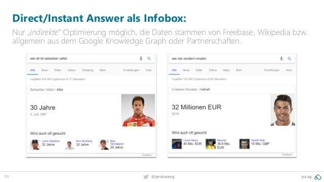 """39 @peakaceag pa.ag Direct/Instant Answer als Infobox: Nur """"indirekte"""" Optimierung möglich, die Daten stammen von Freebase..."""