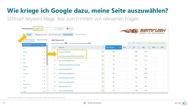 50 @peakaceag pa.ag Wie kriege ich Google dazu, meine Seite auszuwählen? SEMrush Keyword Magic Tool zum Ermitteln von rele...