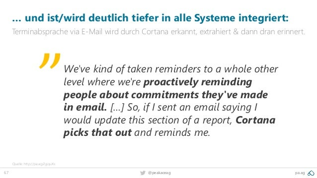 67 @peakaceag pa.ag … und ist/wird deutlich tiefer in alle Systeme integriert: Terminabsprache via E-Mail wird durch Corta...