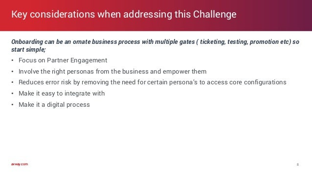 axway.comaxway.com Onboarding can be an ornate business process with multiple gates ( ticketing, testing, promotion etc) s...