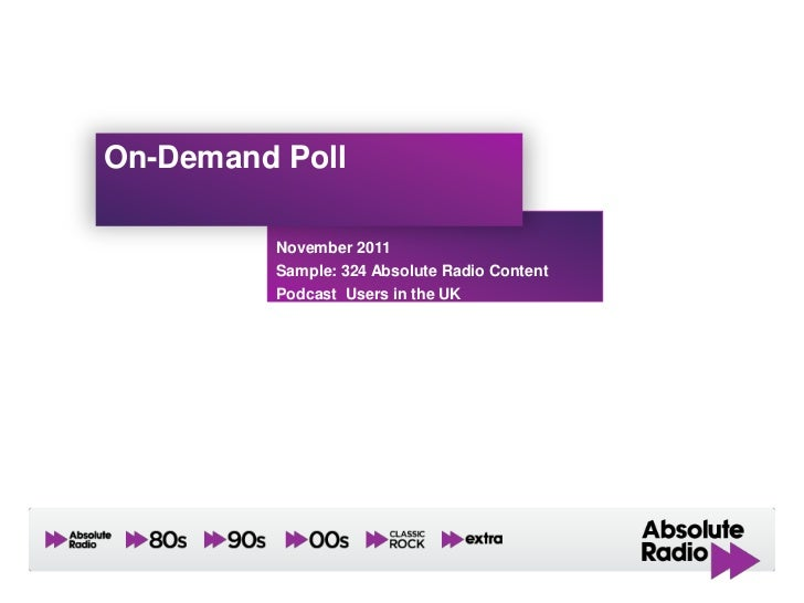 On-Demand Poll         November 2011         Sample: 324 Absolute Radio Content         Podcast Users in the UK