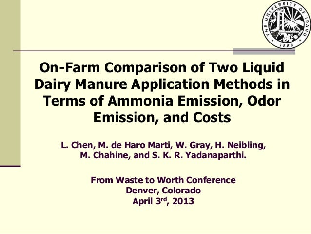 On-Farm Comparison of Two LiquidDairy Manure Application Methods inTerms of Ammonia Emission, OdorEmission, and CostsL. Ch...