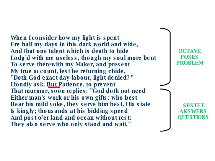 an analysis of the poem when i consider how my light is spent by john milton Composed sometime between 1652 and 1655, john milton's sonnet 19 [when i consider how my light is spent] grapples with the subject of the poet's blindness later in life, as well as his changing relationship with god.