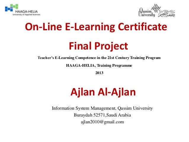 On line e-learning certificate 01