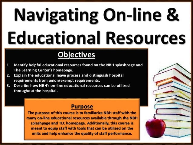 Objectives 1. Identify helpful educational resources found on the NBH splashpage and The Learning Center's homepage. 2. Ex...