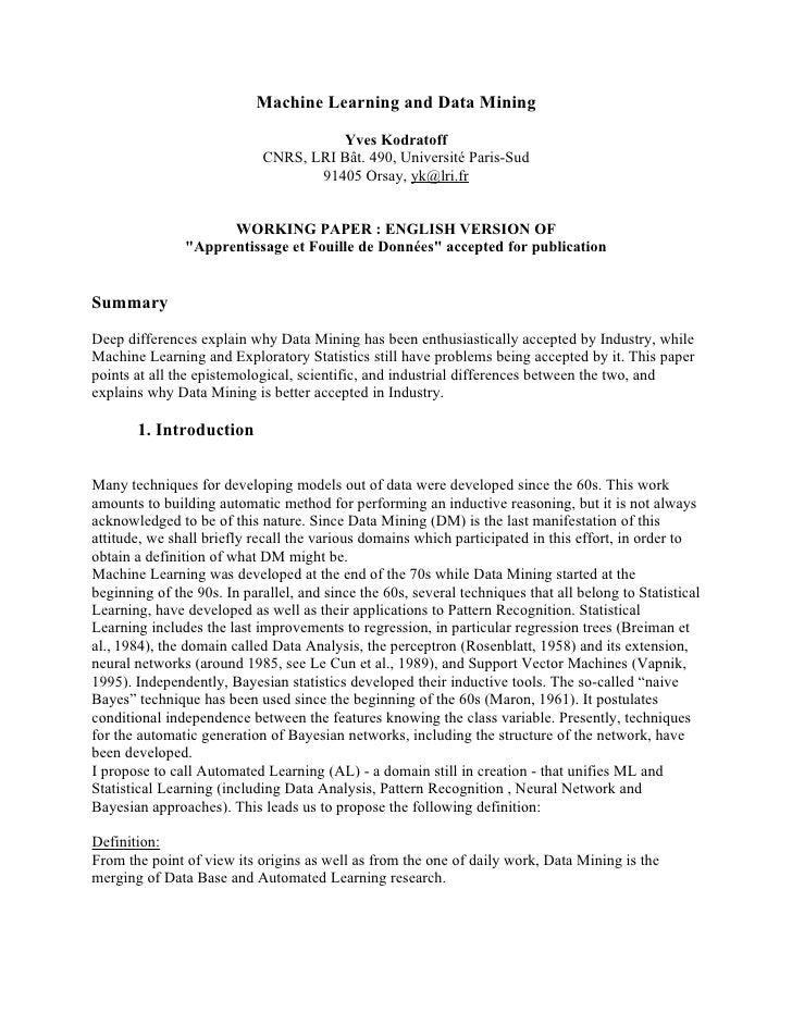 Machine Learning and Data Mining                                        Yves Kodratoff                             CNRS, L...