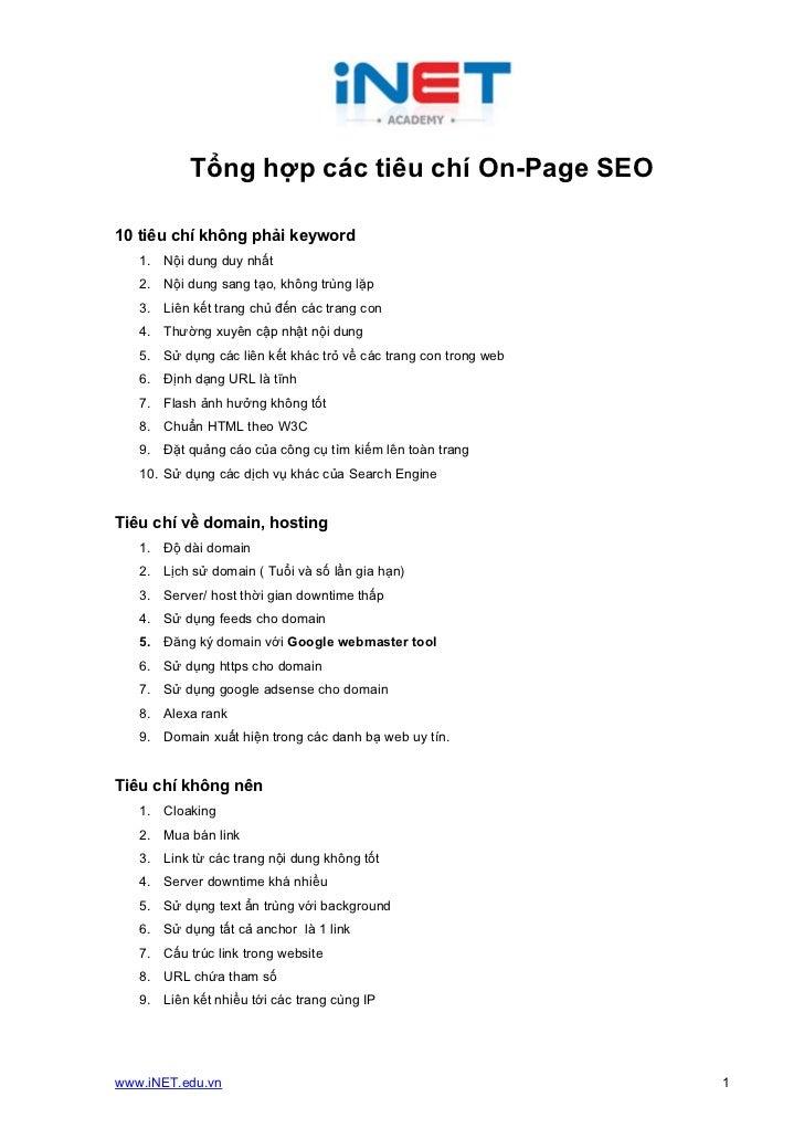 Tổng hợp các tiêu chí On-Page SEO10 tiêu chí không phải keyword   1. Nội dung duy nhất   2. Nội dung sang tạo, không trùng...