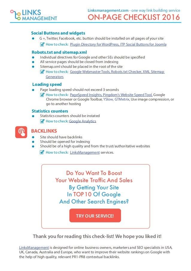 on page seo checklist 2016