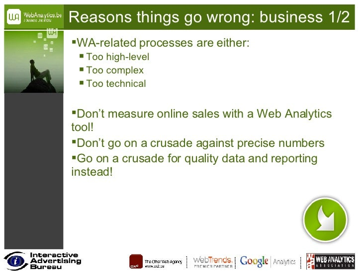 Reasons things go wrong: business 1/2 <ul><li>WA-related processes are either: </li></ul><ul><ul><li>Too high-level </li><...