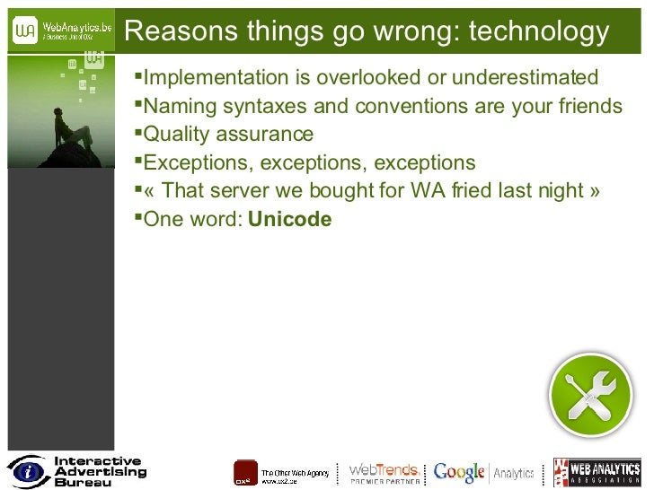Reasons things go wrong: technology <ul><li>Implementation is overlooked or underestimated </li></ul><ul><li>Naming syntax...