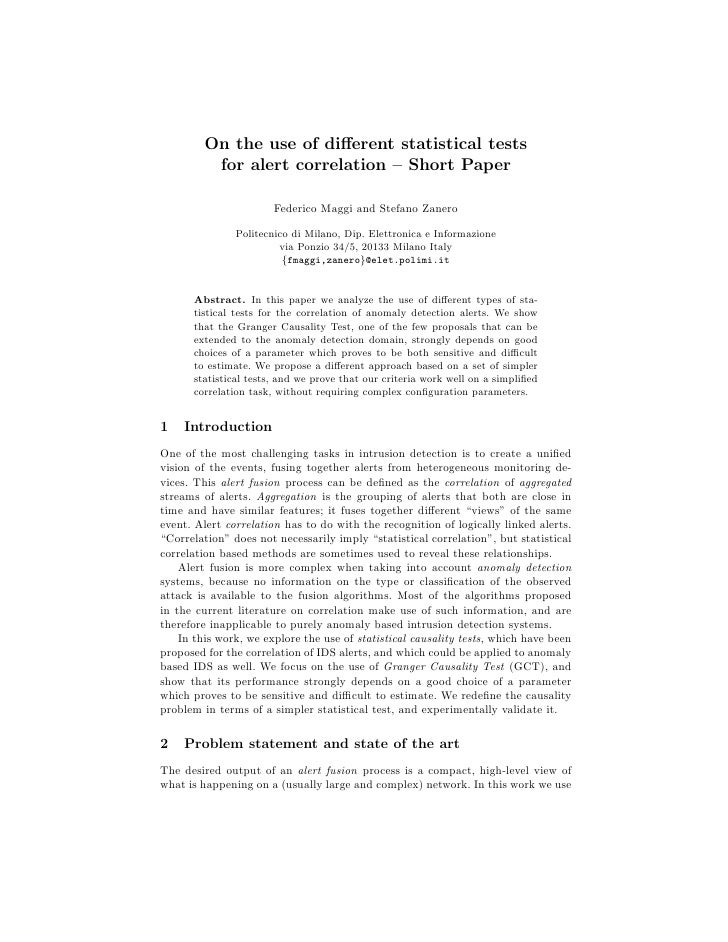 On the use of different statistical tests           for alert correlation – Short Paper                         Federico Ma...