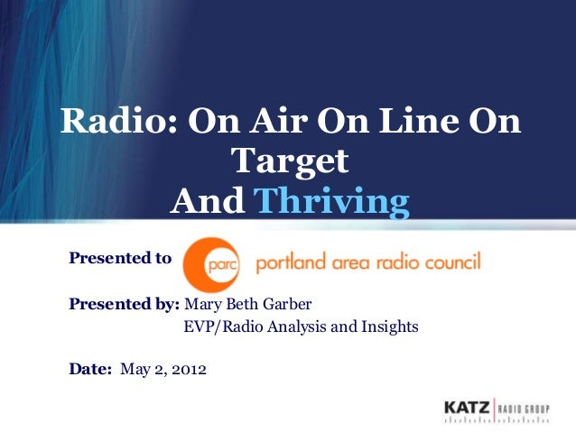 Radio: On Air On Line On         Target     And ThrivingPresented to:Presented by: Mary Beth Garber              EVP/Radio...