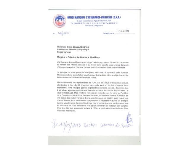 LETTRE DIRECTEUR GENERAL BERNARD DEGRAFF AU PRESIDENT DU SENAT SIMON DESRAS APRES LA TENTATIVE D'ASSASSINAT